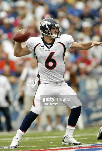 Jay Cutler of the Denver Broncos throws a pass against the Buffalo Bills at Ralph Wilson Stadium September 9 2007 in Orchard Park New York