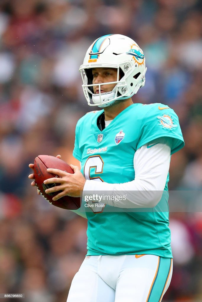Jay Cutler of the Miami Dolphins in action during the NFL match between New Orleans Saints and Miami Dolphins at Wembley Stadium on October 1, 2017 in London, England.
