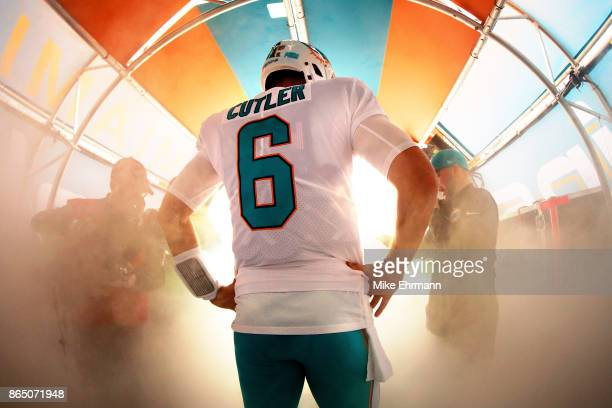 Jay Cutler of the Miami Dolphins takes the field during the game against the New York Jets at Hard Rock Stadium on October 22 2017 in Miami Gardens...