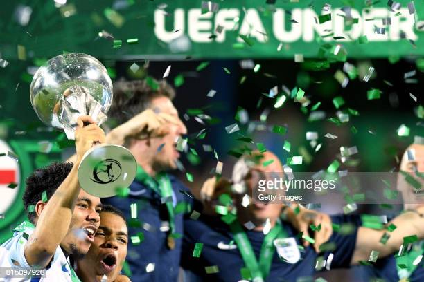 Jay DaSilva England captain lifts the trophy as team celebrate after winning the UEFA European Under19 Championship Final between England and...