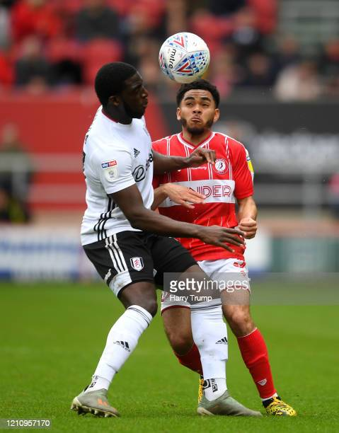 Jay Dasilva of Bristol City is challenged by Aboubakar Kamara of Fulham during the Sky Bet Championship match between Bristol City and Fulham FC at...