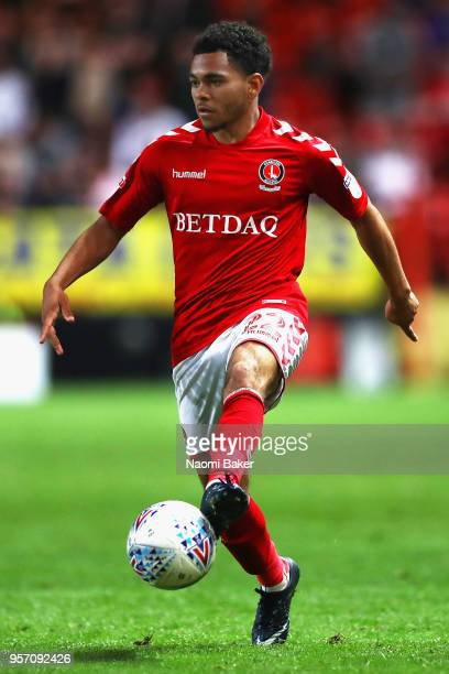 Jay Dasilva of Charlton controls the ball during the Sky Bet League One Play Off Semi Final First Leg match between Charlton Athletic and Shrewsbury...