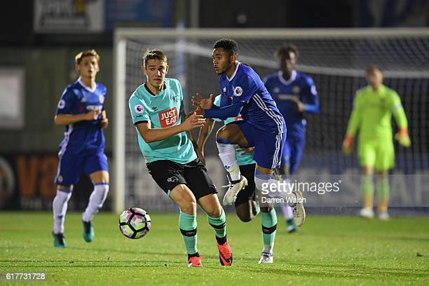 Jay Dasilva of Chelsea and Timi Elsnik of Derby County during a Premier League 2 match between Chelsea and Derby County at The EBB Stadium on October...