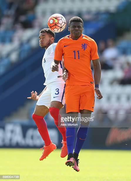 Jay DaSilva of England and Javairo Dilrosun of Netherlands during the international friendly match between England U19 and Netherlands U19 on...