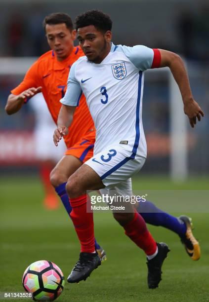 Jay Dasilva of England U20's during the international match between England U20's and Netherlands U20's at the New Bucks Head Stadium on August 31...