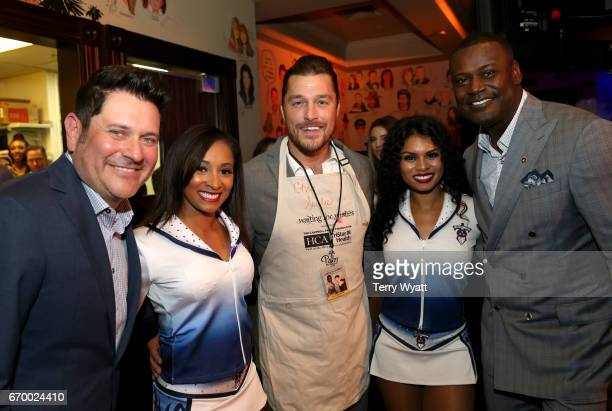 Jay DeMarcus Chris Soules and Kevin Carter pose with Tennessee Titans Cheerleaders during the 16th Annual Waiting for Wishes Celebrity Dinner Hosted...