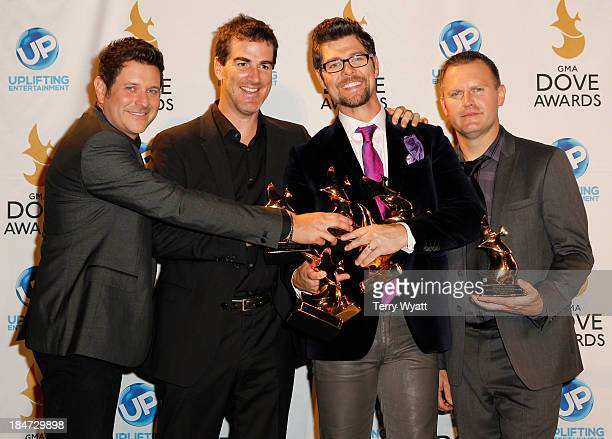 Jay Demarcus, Ed Cash, Jason Crabb, and Wayne Haun backstage at the 44th Annual GMA Dove Awards on October 15, 2013 in Nashville, Tennessee.