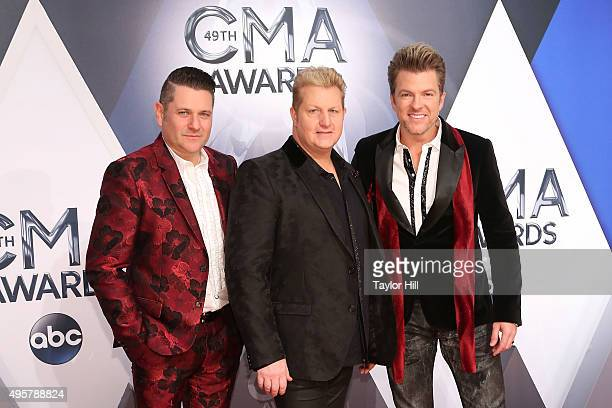 Jay DeMarcus Gary LeVox and Joe Don Rooney of Rascal Flatts attend the 49th annual CMA Awards at the Bridgestone Arena on November 4 2015 in...