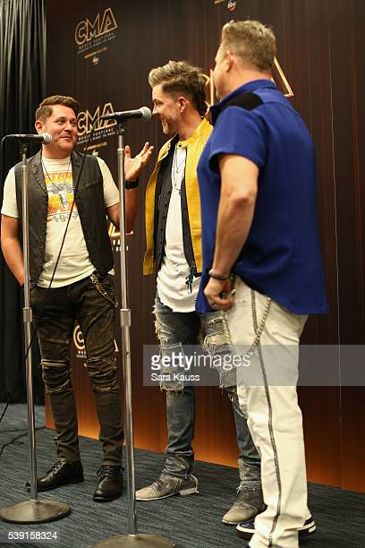 Jay DeMarcus Joe Don Rooney and Gary LeVo in the press room during CMA Music Fest on June 9 2016 in Nashville Tennessee