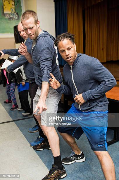 Jay DeMerit and Cobi Jones attend the Celebrity Fitness Session for Compton Unified School District at Tibby Elementary School on January 31 2016 in...