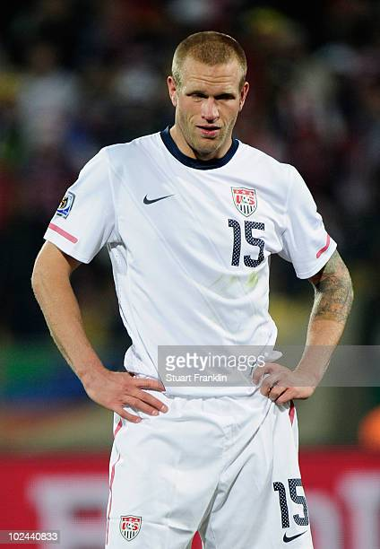 Jay Demerit of the United States looks dejected as Ghana go ahead in extra time during the 2010 FIFA World Cup South Africa Round of Sixteen match...