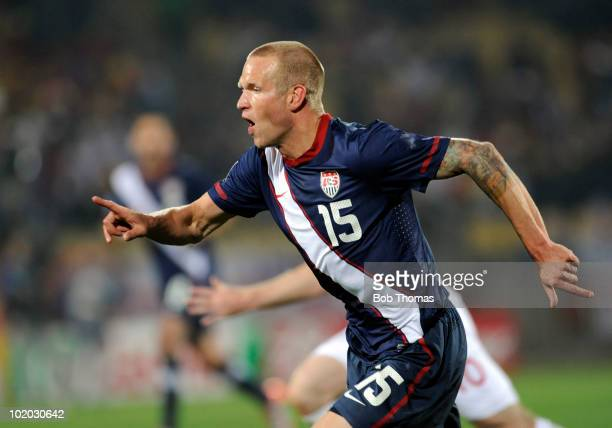 Jay DeMerit of the USA during the 2010 FIFA World Cup South Africa Group C match between England and USA at the Royal Bafokeng Stadium on June 12...