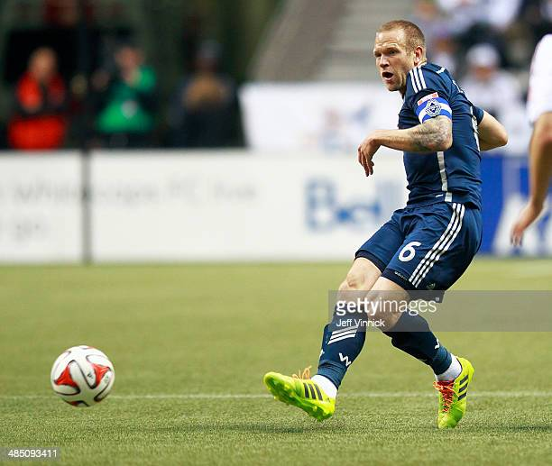 Jay DeMerit of the Vancouver Whitecaps FC during their MLS game against the Colorado Rapids April 5 2014 in Vancouver British Columbia Canada...