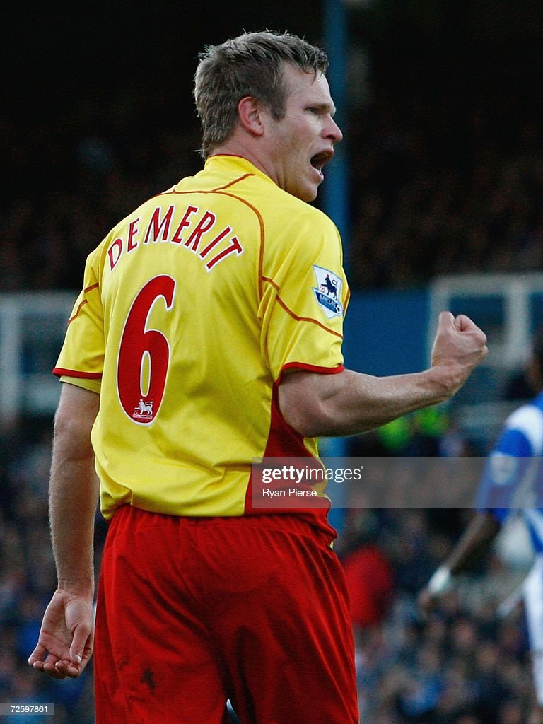 Jay DeMerit of Watford celebrates after he scored his team's first goal during the Barclays Premiership match between Portsmouth and Watford at Fratton Park on November 18, 2006 in Portsmouth, United Kingdom.