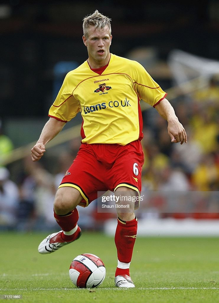 Jay DeMerit of Watford during the Barclays Premiership match between Watford and Manchester United at Vicarage Road on August 26, 2006 in Watford, England.