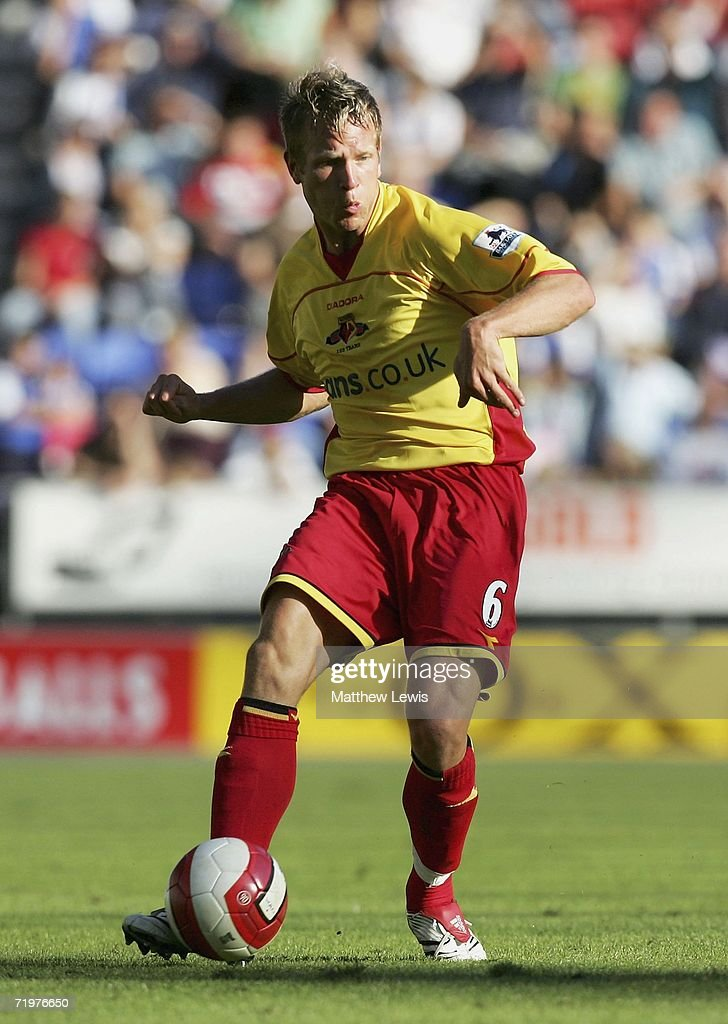Jay Demerit of Watford in action during the Barclays Premiership match between Wigan Athletic and Watford at the JJB Stadium on September 23, 2006 in Wigan, England.