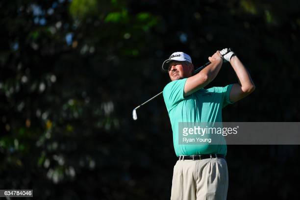 Jay Don Blake tees off on the 16th hole during the second round of the PGA TOUR Champions Allianz Championship at The Old Course at Broken Sound on...