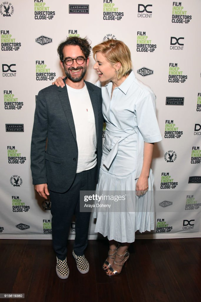 Jay Duplass and Greta Gerwig attend the Film Independent hosts Directors Close-Up Screening of 'Lady Bird' at Landmark Theatre on February 7, 2018 in Los Angeles, California.