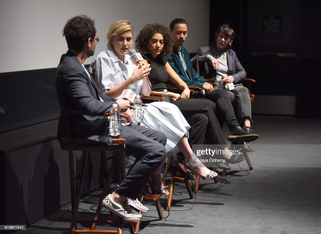 Jay Duplass, Greta Gerwig, Marielle Scott, Jordan Rodrigues and April Napier attend the Film Independent Hosts Directors Close-Up Screening Of 'Lady Bird' at Landmark Theatre on February 7, 2018 in Los Angeles, California.