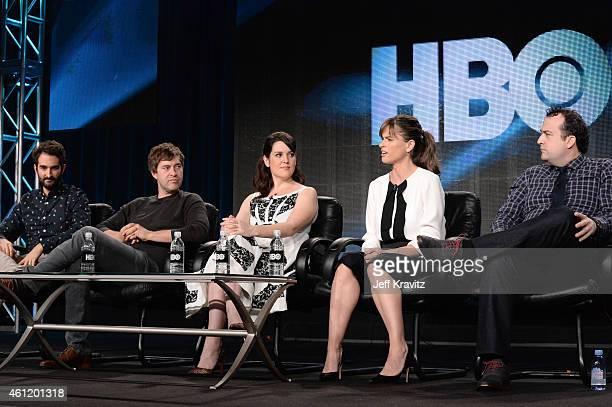 Jay Duplass, writer/director, Mark Duplass, actor/writer/director, and actors Melanie Lynskey, Amanda Peet and Steve Zissis speak onstage during...