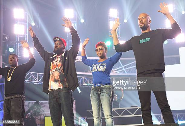Jay Electronica Michael Brown Sr Lesley McSpadden and Common appear onstage during the BET Hip Hop Awards 2014 at Boisfeuillet Jones Atlanta Civic...