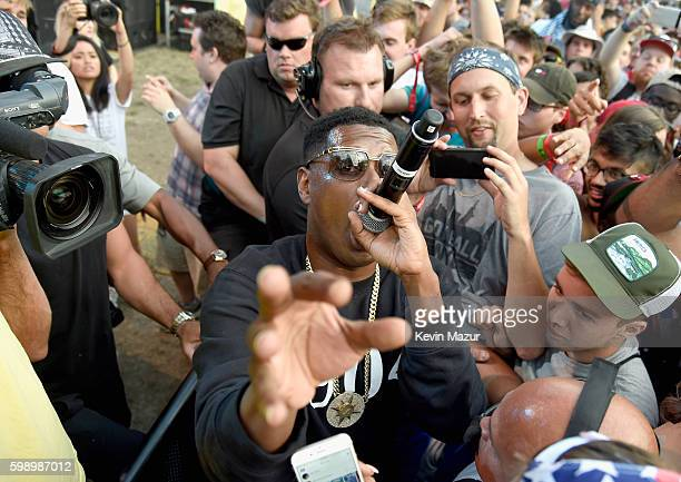 Jay Electronica performs from the crowd during the 2016 Budweiser Made in America Festival at Benjamin Franklin Parkway on September 3 2016 in...