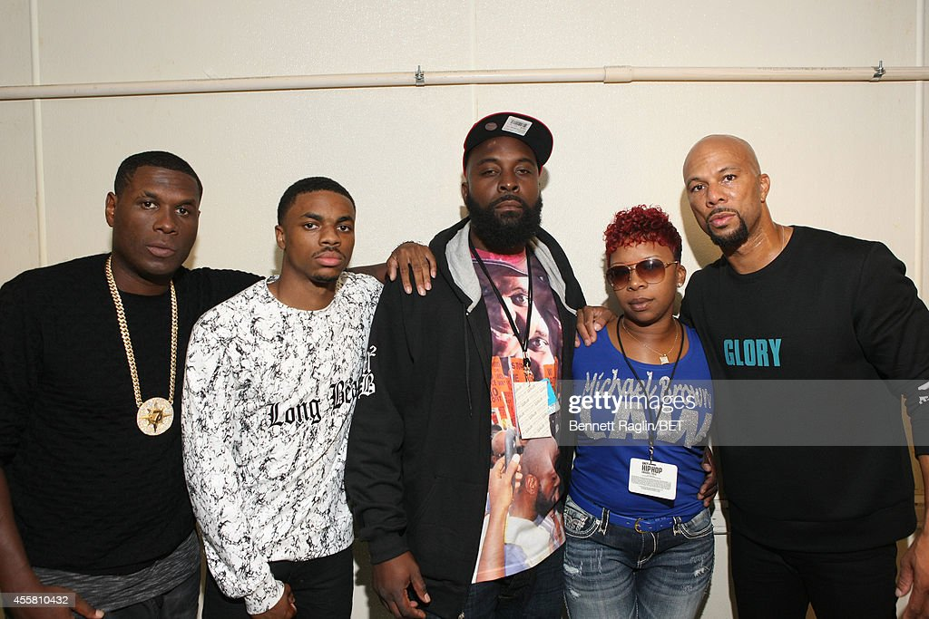 Jay Electronica, Vince Staples, Michael Brown Sr., Lesley McSpadden and Common pose backstage during the BET Hip Hop Awards 2014 at Boisfeuillet Jones Atlanta Civic Center on September 20, 2014 in Atlanta, Georgia.