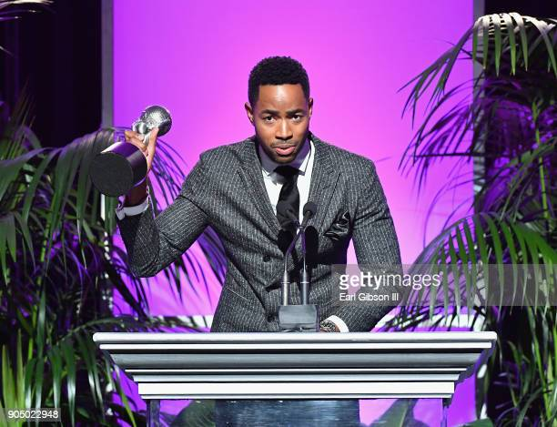 Jay Ellis accepts award for Outstanding Supporting Actor in a Comedy at the 49th NAACP Image Awards NonTelevised Awards Dinner at the Pasadena...