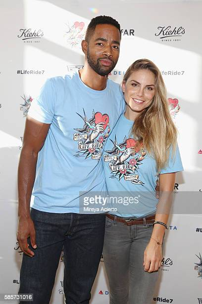 Jay Ellis and Nina Senicar attend the 7th Annual LifeRide for amfAR at Kiehl's Since 1851 Flagship Store on August 3 2016 in New York City