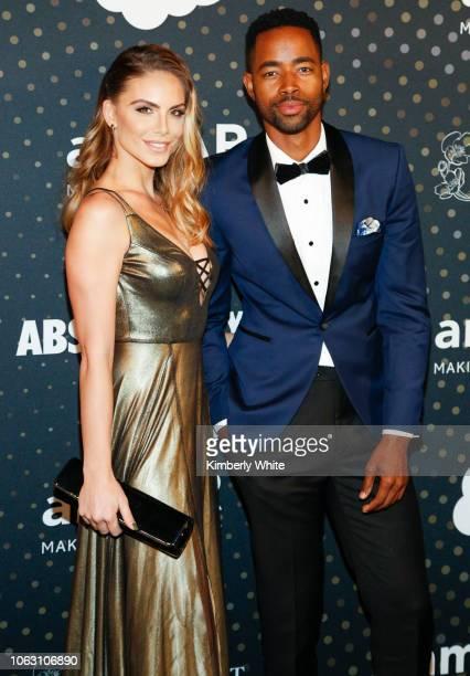 Jay Ellis and Nina Senicar attend the amfAR Inaugural Celebrity Poker Tournament on November 17 2018 in San Francisco California