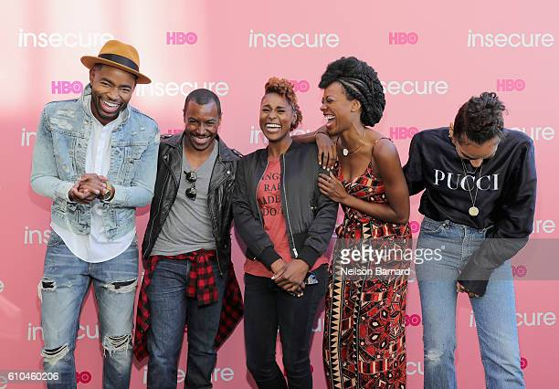 Jay Ellis Prentice Penny Issa Rae Yvonne Orji and Melina Matsoukas attend HBO's 'Insecure' Block Party on September 25 2016 in Brooklyn New York