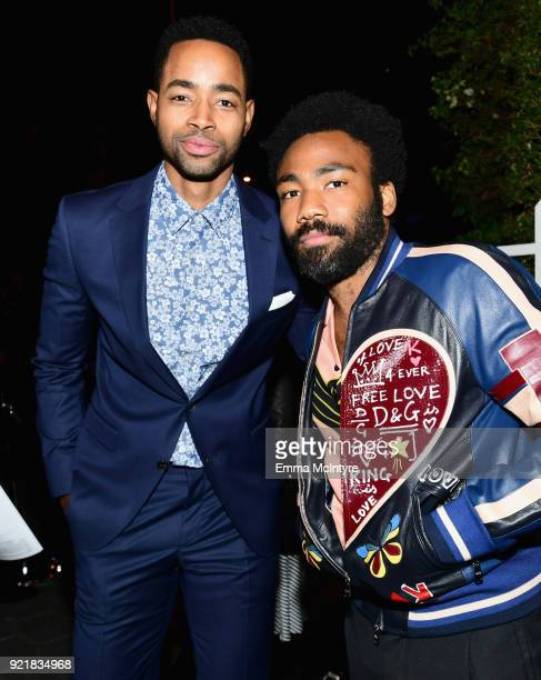 Jay Ellis wearing Hugo Boss and Donald Glover attend Esquire's 'Mavericks of Hollywood' Celebration presented by Hugo Boss on February 20 2018 in Los...