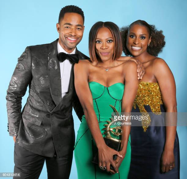 Jay Ellis Yvonne Orji and Issa Rae pose for a portrait backstage during the 2018 American Black Film Festival Honors Awards at The Beverly Hilton...