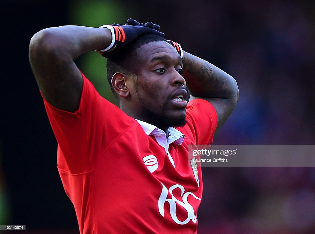 Jay Emmanuel-Thomas of Bristol City reacts during the FA Cup Fourth Round match between Bristol City and West Ham United at Ashton Gate on January 25, 2015 in Bristol, England.