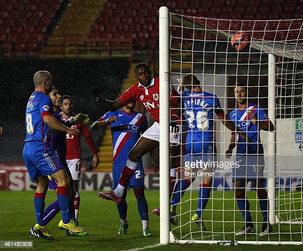 Jay EmmanuelThomas of Bristol City scores during the FA Cup Third Round Replay between Bristol City and Doncaster Rovers at Ashton Gate on January 13...
