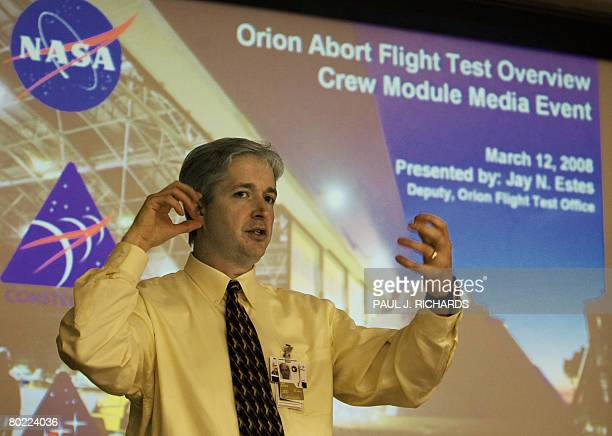 Jay Estes Deputy Orion Flight Test Office NASA Johnson Space Center in Houston TX briefs reporters on the Constellation Program's Orion crew module...