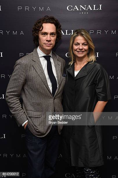 Jay Fielden and Elisabetta Canali attend the CANALI and PRYMA celebration of the US launch of the CANALI online boutique on October 12 2016 in New...