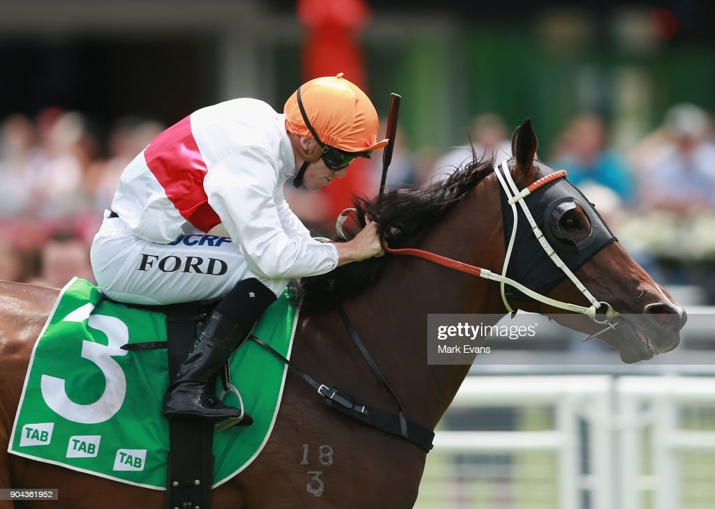 Jay Ford on Cordero wins race 3 during Sydney Racing at Royal Randwick Racecourse on January 13, 2018 in Sydney, Australia.