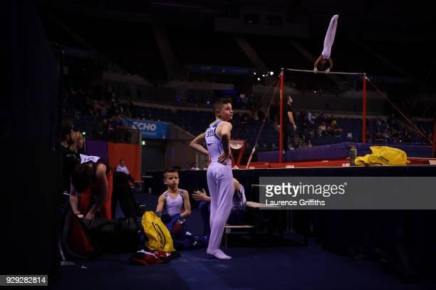 Jay Franklin of Bristol Hawks Gym looks on the Men's Under 14 AllAround Gymnastics British Championships at Echo Arena on March 8 2018 in Liverpool...