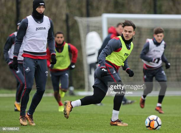 Jay Fulton and Roque Mesa in action during the Swansea City Training at The Fairwood Training Ground on January 04 2018 in Swansea Wales