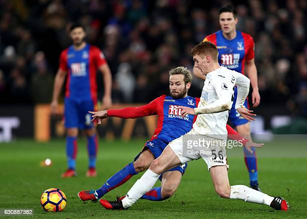 Jay Fulton of Swansea City and Yohan Cabaye of Crystal Palace compete for the ball during the Premier League match between Crystal Palace and Swansea...