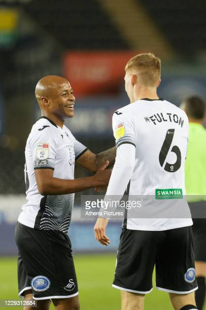 Jay Fulton of Swansea City celebrates his goal with Andre Ayew during the Sky Bet Championship between Swansea City and Stoke City at the Liberty...