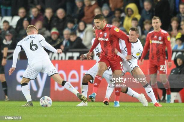 Jay Fulton of Swansea City in control of the ball during the Sky Bet Championship match between Swansea City and Fulham at the Liberty Stadium...