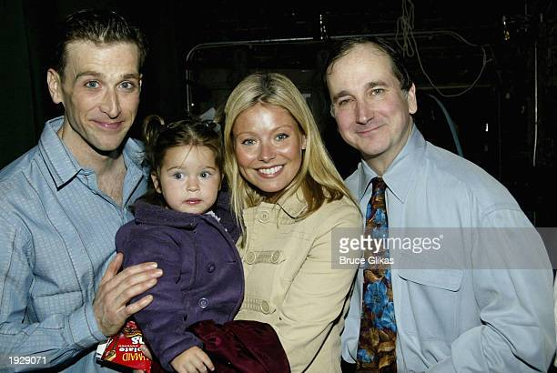 Jay Goede Lola Consuelos and mother Kelly Ripa with Mark LinnBaker backstage on Opening Night for A Year With Frog and Toad at The Cort Theatre in...