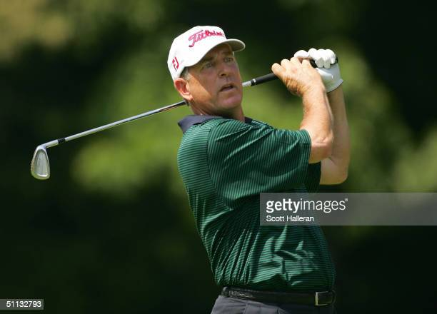 Jay Haas hits his tee shot on the third hole during the second round of the 25th US Senior Open on July 31 2004 at Bellerive Country Club in St Louis...