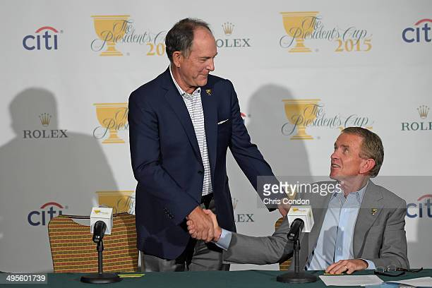 Jay Haas is named Captain of the 2015 Presidents Cup Unites States' Team by PGA TOUR Commissioner Tim Finchem during a press conference at the Big...
