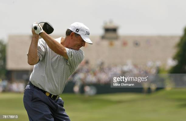 Jay Haas on the 18th hole during the final round of the 67th Senior PGA Championship at Oak Tree Golf Club in Edmond OK on May 28 2006 Haas won the...