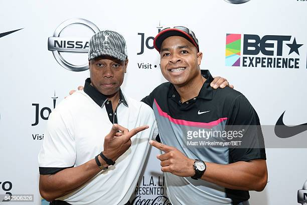 Jay Harris and Mike Hill participate in the 2016 BETX Celebrity Golf sponsored by Nike on June 24 2016 in Los Angeles California