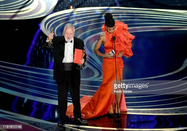Jay Hart and Hannah Beachler accept the Production Design award for 'Black Panther' onstage during the 91st Annual Academy Awards at Dolby Theatre on...