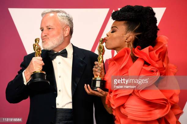 jay Hart and Hannah Beachler winners of Best Production Design for Black Panther pose in the press room during the 91st Annual Academy Awards at...